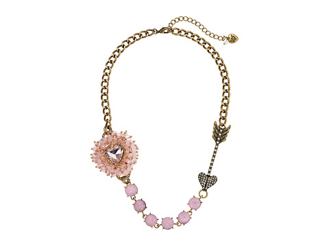 Betsey Johnson - Beaded Heart Pink Heart Arrow Frontal Necklace (Pink) Necklace