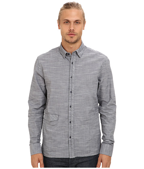 Marc Ecko Cut & Sew - Diceman L/S Woven Shirt (Navy) Men's Long Sleeve Button Up