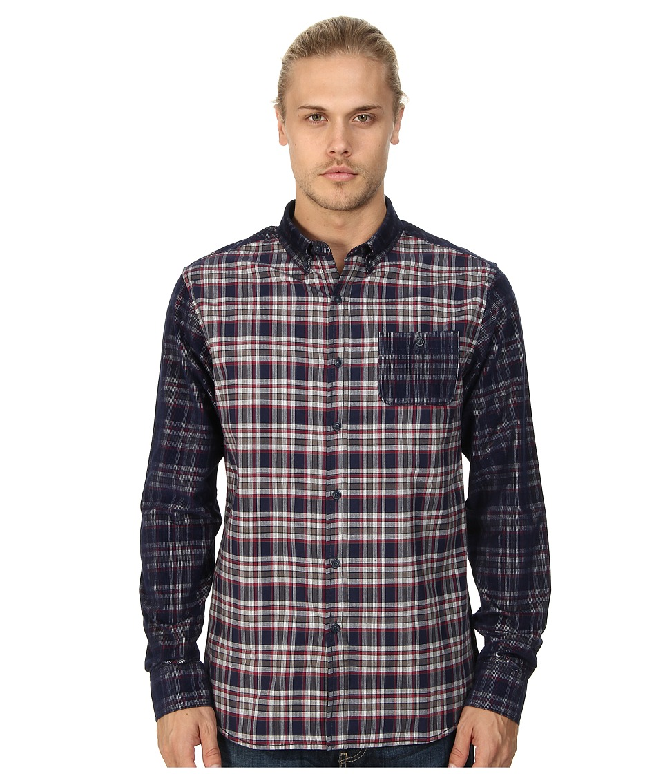 Marc Ecko Cut & Sew - Thames Print Cord Woven Shirt (Navy) Men's Long Sleeve Button Up
