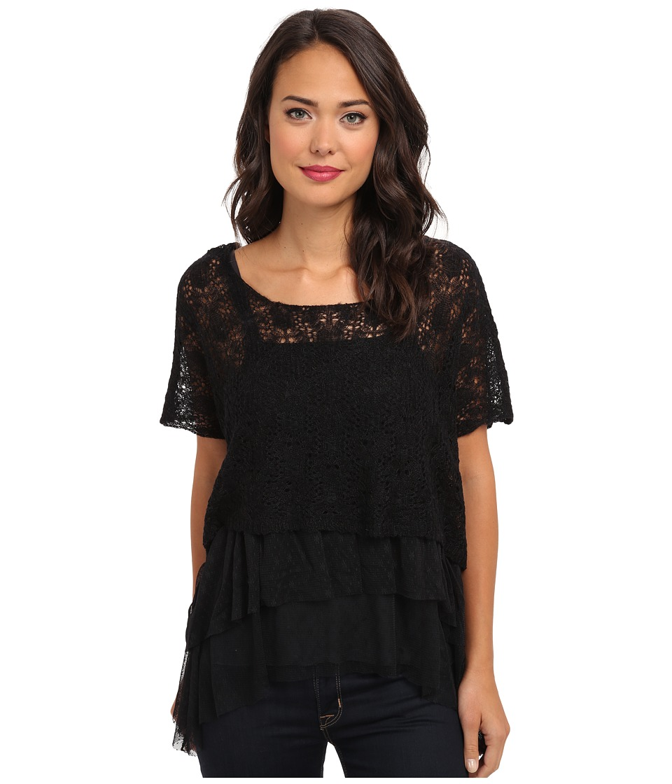 Free People - Luna Twofer Sweater (Black Combo) Women's Short Sleeve Pullover