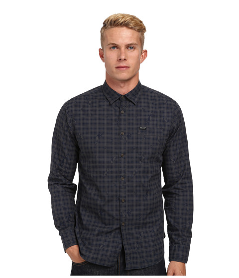 Marc Ecko Cut & Sew - Walpack L/S Woven Shirt (Navy) Men's Long Sleeve Button Up