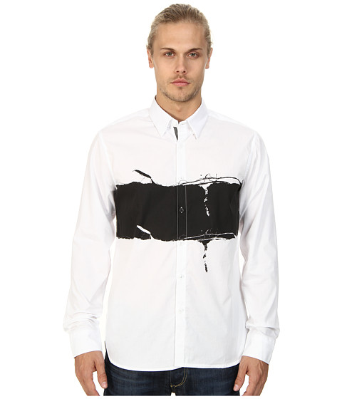 Marc Ecko Cut & Sew - In The Fray L/S Woven Shirt (White) Men's Long Sleeve Button Up