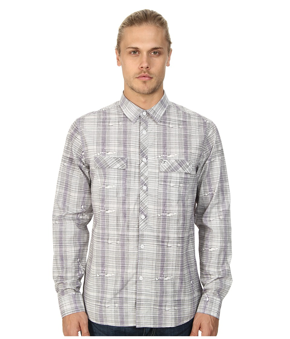 Marc Ecko Cut & Sew - Adler L/S Woven Plaid Shirt (Grey) Men's Long Sleeve Button Up