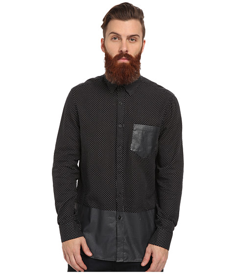 Marc Ecko Cut & Sew - Draven L/S Woven Printed Shirt (Black) Men's Long Sleeve Button Up