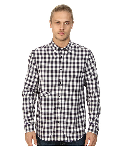 Marc Ecko Cut & Sew - Lennox L/S Woven Plaid Shirt (Purple) Men's Long Sleeve Button Up
