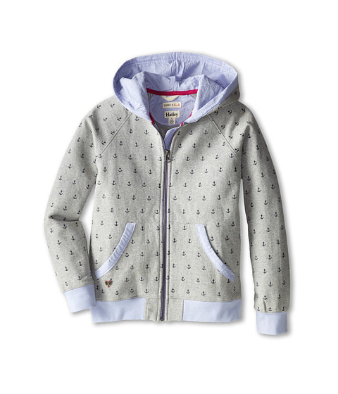 Hatley Kids - Printed Anchors Hoodie (Toddler/Little Kids/Big Kids) (Grey) Girl