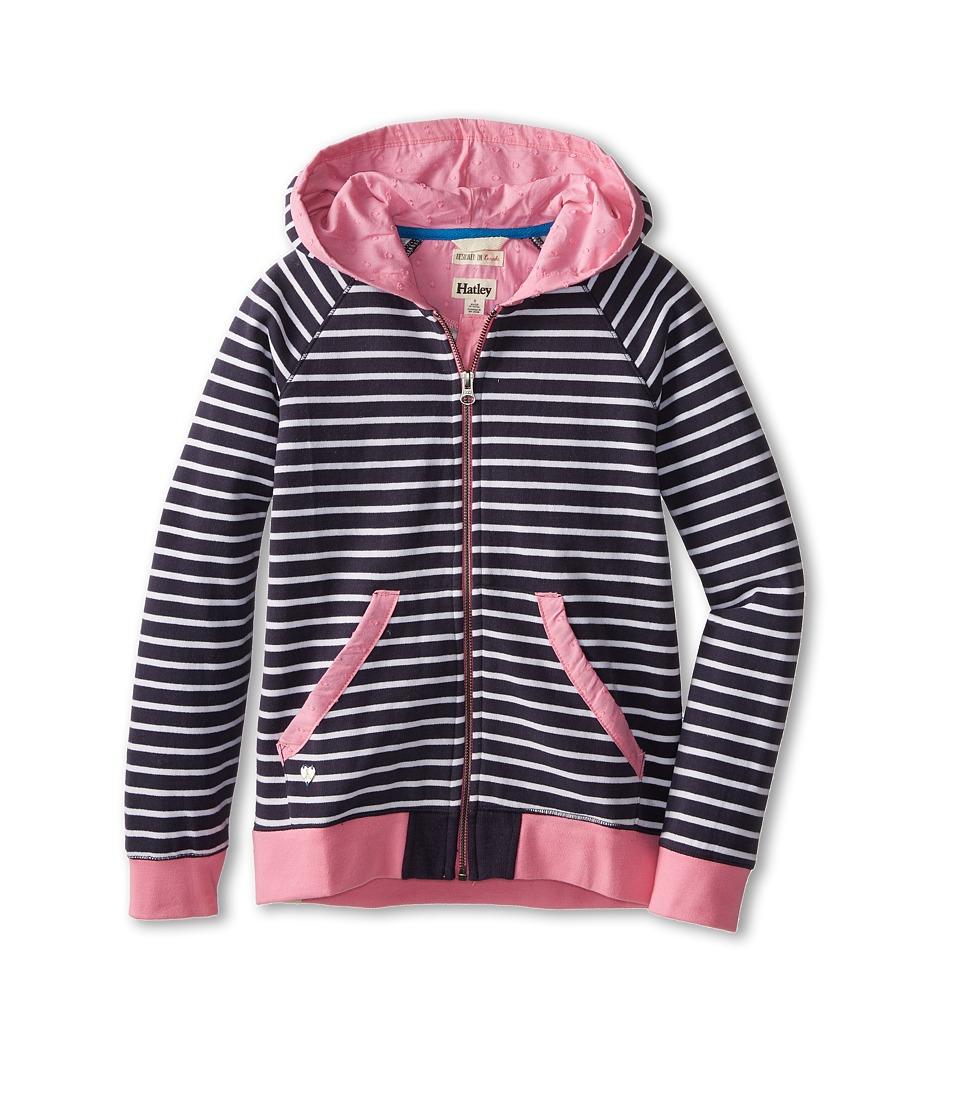Hatley Kids - Nautical Stripes Hoodie (Toddler/Little Kids/Big Kids) (Blue) Girl