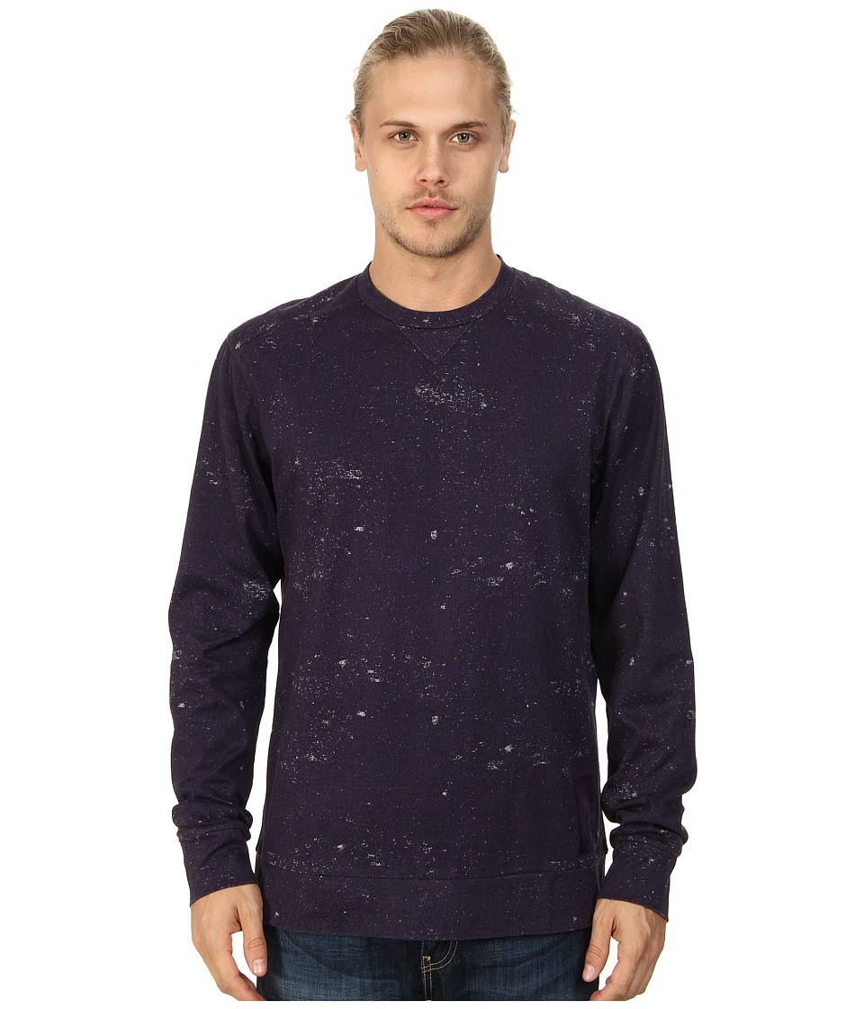 Marc Ecko Cut & Sew - Distressed Print L/S Crew (Purple) Men