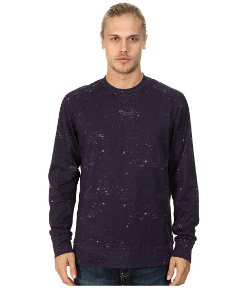 Marc Ecko Cut & Sew - Distressed Print L/S Crew (Purple) Men's Sweatshirt