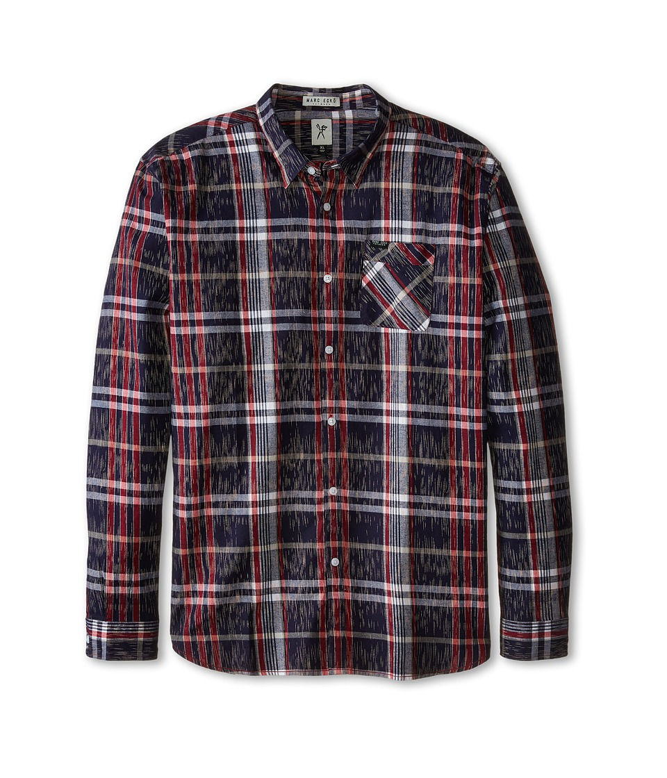 Marc Ecko Cut & Sew - Partition L/S Woven Shirt (Red) Men's Long Sleeve Button Up