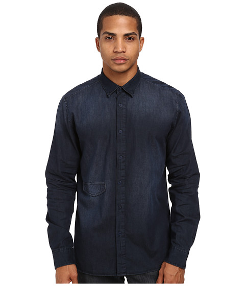 Marc Ecko Cut & Sew - Kernal L/S Woven Shirt (Navy) Men's Long Sleeve Button Up