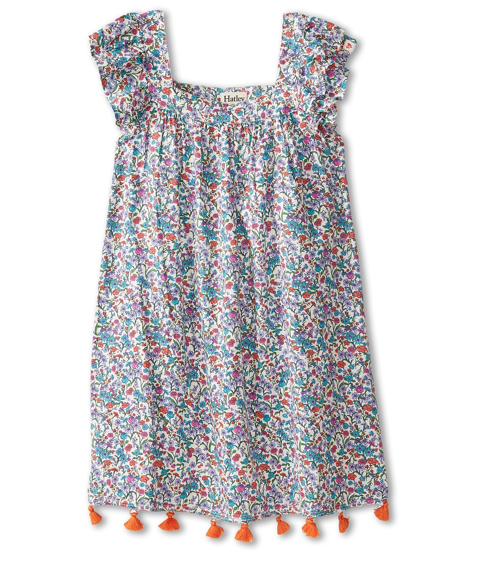 Hatley Kids - Botanical Flowers Flutter Sleeve Dress (Toddler/Little Kids/Big Kids) (Blue) Girl