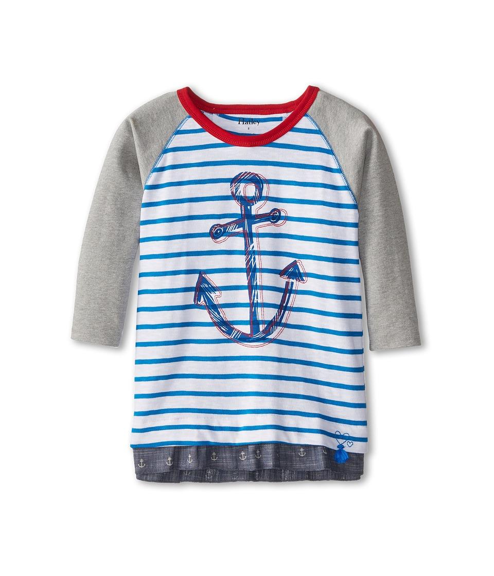 Hatley Kids - Chambray Anchors Raglan Tee (Toddler/Little Kids/Big Kids) (White) Girl's T Shirt