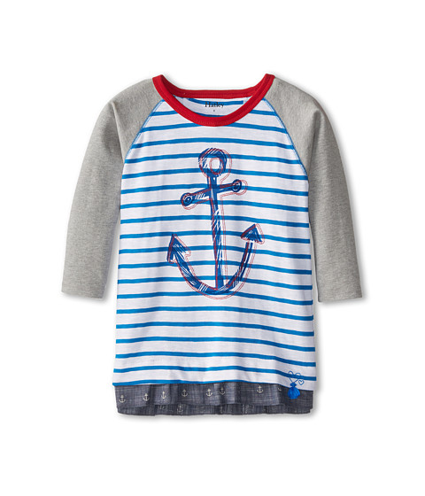 Hatley Kids - Chambray Anchors Raglan Tee (Toddler/Little Kids/Big Kids) (White) Girl's T Shirt