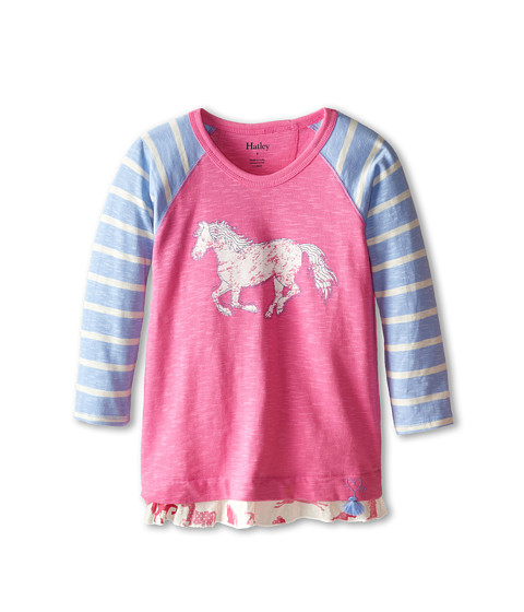 Hatley Kids - Hearts Horses Raglan Tee (Toddler/Little Kids/Big Kids) (Pink) Girl's T Shirt