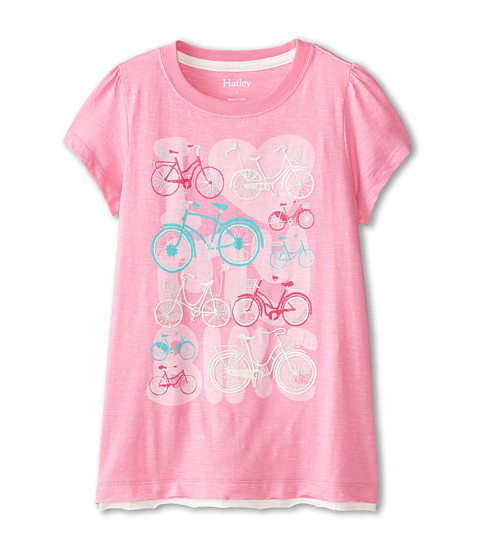 Hatley Kids - Lots of Bikes Graphic Tee (Toddler/Little Kids/Big Kids) (Pink) Girl