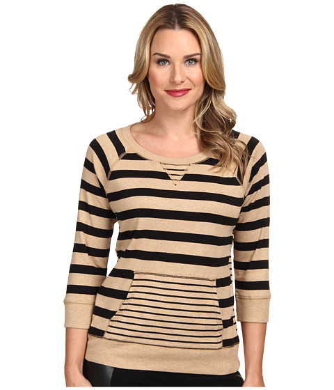 Jones New York - Stripe Raglan Sleeve Pullover (Camel Heather/Black) Women's Long Sleeve Pullover