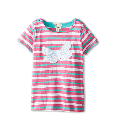 Hatley Kids - Graphic Butterflies Applique Tee (Toddler/Little Kids/Big Kids) (Pink) Girl