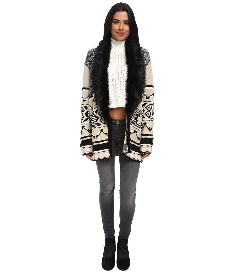 MINKPINK - Mountain Tribe Cardigan (Natural/Black) Women's Sweater