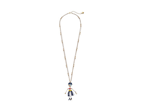 Betsey Johnson - Shipshape Pirate Skeleton Long Pendant Necklace (Multi) Necklace