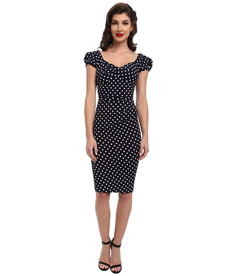 Stop Staring! - Billionaire Elegant Twist Front Dress (Navy/White Dot) Women's Dress
