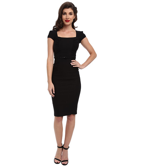 Stop Staring! - Celebrity Square Neck Shirred Front Dress (Black) Women's Dress