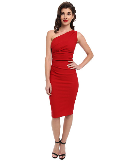 Stop Staring! - Gathered Ava One Shoulder Dress (Red) Women
