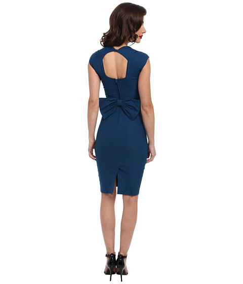 Stop Staring! - Love Sweetheart Neckline Dress w/ Bow Back Detail (Peacock Blue) Women
