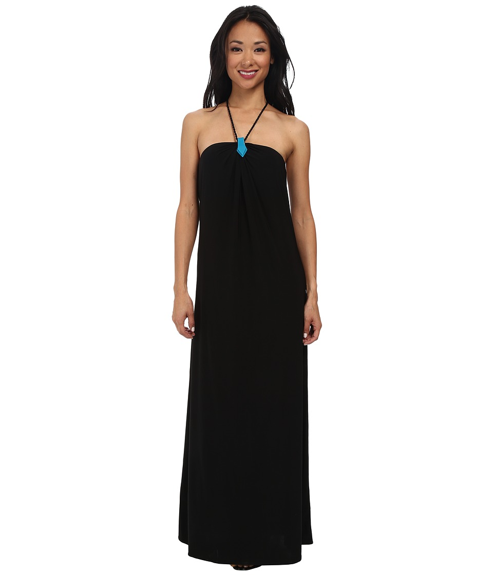 Tbags Los Angeles - Halter Maxi with Turquoise Neck Trim Black Braid Strap (Black) Women's Dress