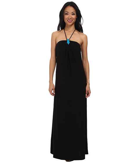 Tbags Los Angeles - Halter Maxi with Turquoise Neck Trim Black Braid Strap (Black) Women