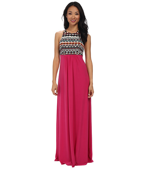 Tbags Los Angeles - Scuba Tank Maxi Dress with X Back Detail (Black/Red/Yellow/Fuchsia) Women