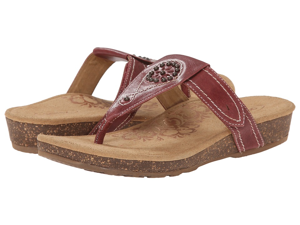 Aetrex Emily Sandalistas Lynco Footbed (Aged Red) Women
