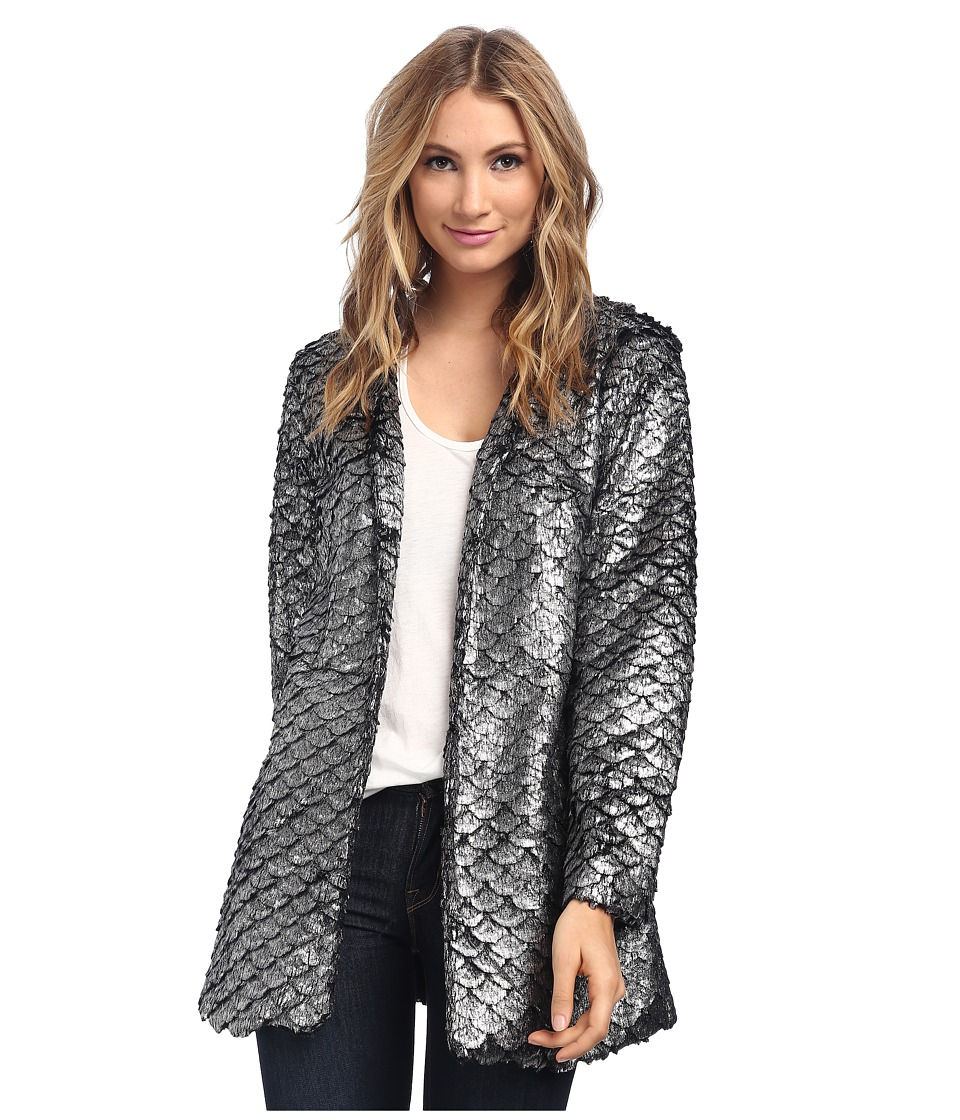 MINKPINK - Royal Treatment Coat (Black/Silver) Women's Coat