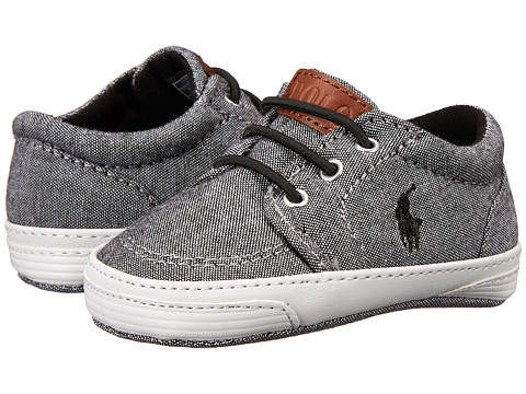 Ralph Lauren Layette Kids - Faxon EZ (Infant/Toddler) (Grey Chambray w/ Black) Boys Shoes
