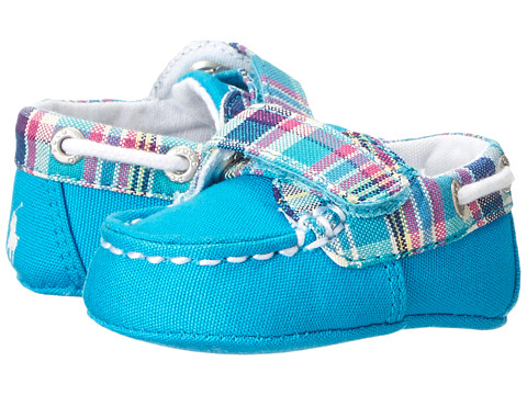Ralph Lauren Layette Kids - Sander EZ (Infant/Toddler) (Turquoise Multi Plaid Canvas (NX-206)) Boys Shoes