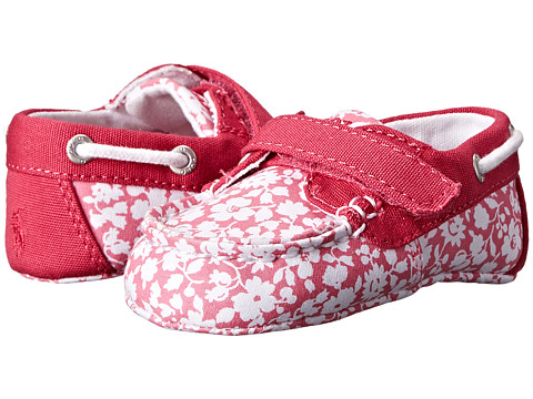 Ralph Lauren Layette Kids - Sander EZ (Infant/Toddler) (Pink Floral Canvas w/ Pink) Girls Shoes