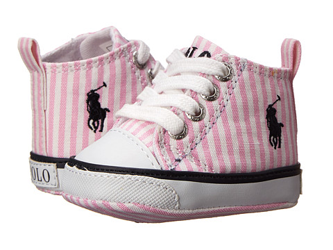 Ralph Lauren Layette Kids - Harbour Hi (Infant/Toddler) (Pink and White Striped) Girls Shoes