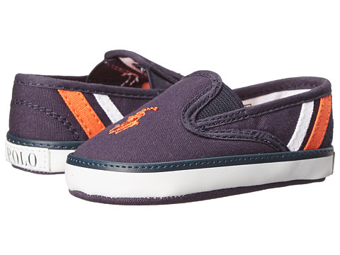 Ralph Lauren Layette Kids - Serena III (Infant/Toddler) (Navy Canvas/Orange & White Stripes) Boys Shoes