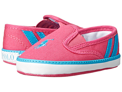 Ralph Lauren Layette Kids - Serena III (Infant/Toddler) (Ultra Pink Canvas/Caribbean Blue Stripes) Girls Shoes
