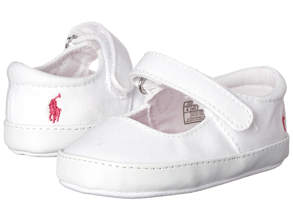 Polo Ralph Lauren Kids - Sandy Mary Jane (Infant/Toddler) (White Canvas w/ Pink Floral Sock Lining) Girls Shoes
