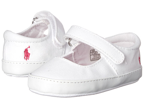 Ralph Lauren Layette Kids - Sandy Mary Jane (Infant/Toddler) (White Canvas w/ Pink Floral Sock Lining) Girls Shoes