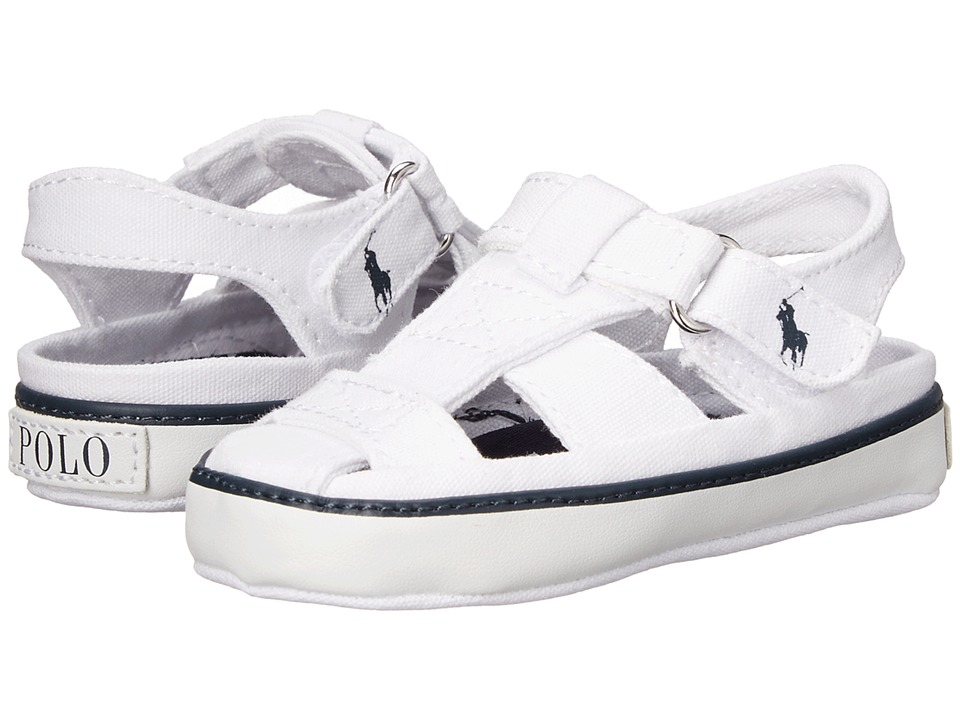 Polo Ralph Lauren Kids - Sander Fishermann II (Infant/Toddler) (White Canvas w/ Anchor Print Sock) Kids Shoes
