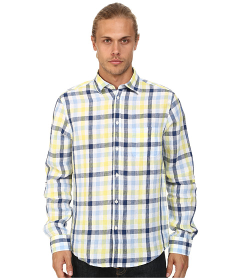 Report Collection - Long Sleeve Roll Tab Check Linen (Yellow) Men's Long Sleeve Button Up