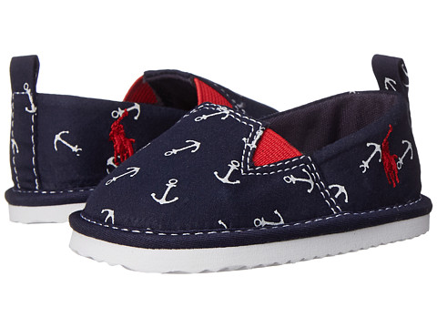 Ralph Lauren Layette Kids - Billie Slip-On (Infant/Toddler) (Navy Canvas w/ Anchor Print) Boys Shoes