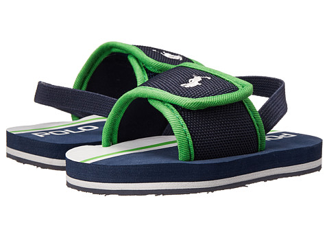 Ralph Lauren Layette Kids - Ferry Slide II (Infant/Toddler) (Navy Nylon/Green) Boys Shoes