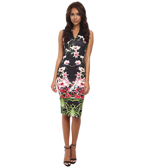 Ted Baker - Jalita Mirrored Tropics Midi Dress (Black) Women's Dress