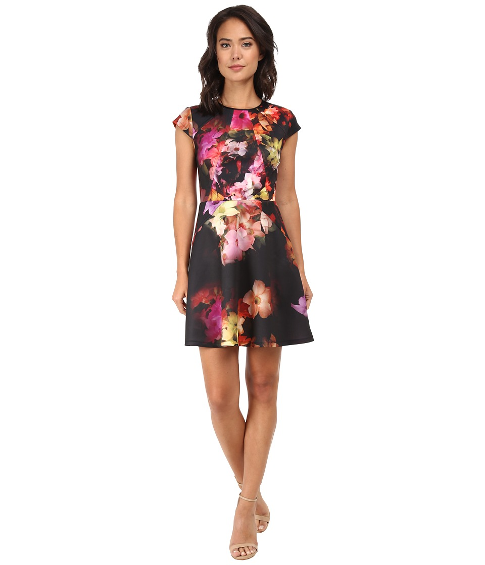 Ted Baker - Embla Cascading Flora Skater Dress (Black) Women's Dress