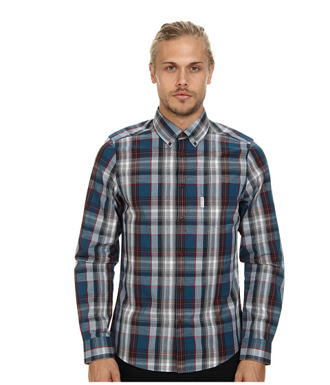 Ben Sherman - L/S Slub Tartan (Hydra) Men's Clothing