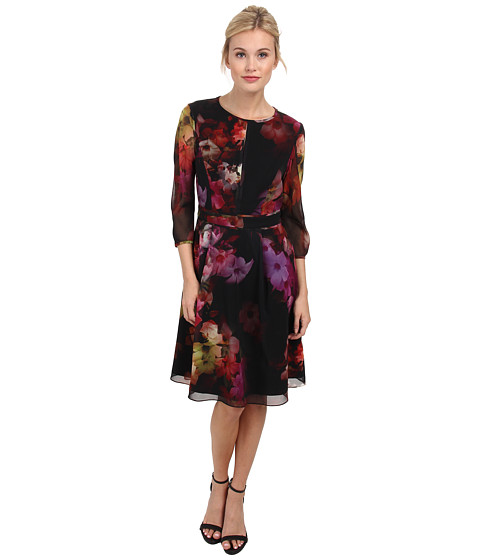 Ted Baker - Sakina Cascading Flora Skirt Dress (Black) Women's Dress
