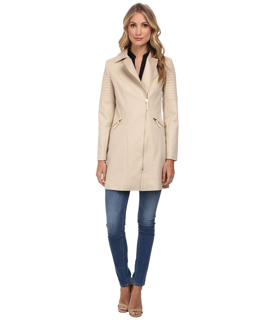 Ted Baker - Faluk Quilted Sleeve Zip Coat (Taupe) Women's Coat
